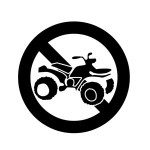 The symbol for an area where ATVs are not permitted.