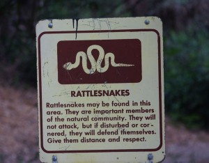 Visitors may encounter rattlesnakes on the trail.  Watch for warning signs.