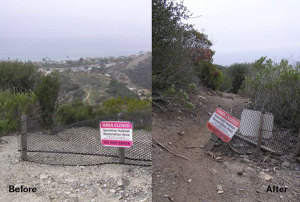 Another before and after of a closed trail.
