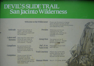 Devil's Slide welcomes you to the San Jacinto Wilderness